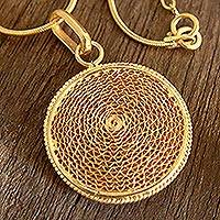 Gold plated filigree necklace, 'Coricancha' - Handcrafted Filigree Gold Plated Pendant Necklace