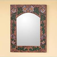 Leather mirror, 'Morning Glory' - Leather mirror