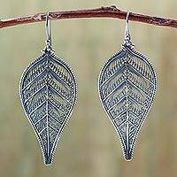 Silver filigree earrings, 'Autumn Leaf' - Hand Made Fine Silver Dangle Earrings