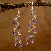 Amethyst chandelier earrings, 'Purple Baubles' - Amethyst chandelier earrings