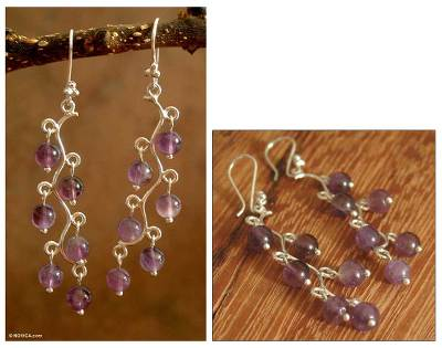 Amethyst chandelier earrings, Purple Baubles