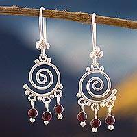 Garnet chandelier earrings, 'Energy' - Sterling Silver and Garnet Chandelier Earrings