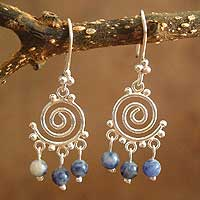 Sodalite chandelier earrings, 'Energy' - Sodalite and Silver Dangle Earrings