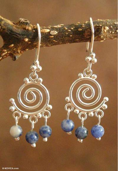 Sodalite and Silver Dangle Earrings