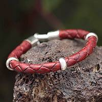 Men's leather braided bracelet, 'Bold Red'