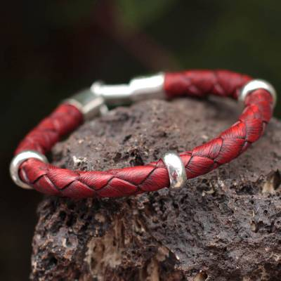 Men's leather braided bracelet, 'Bold Red' - Hand Made Men's Leather Braided Bracelet with Sterling Silve