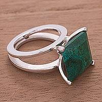 Chrysocolla cocktail ring, 'Prairie' - Sterling Silver Cocktail Chrysocolla Ring