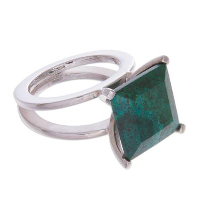 Sterling Silver Cocktail Chrysocolla Ring