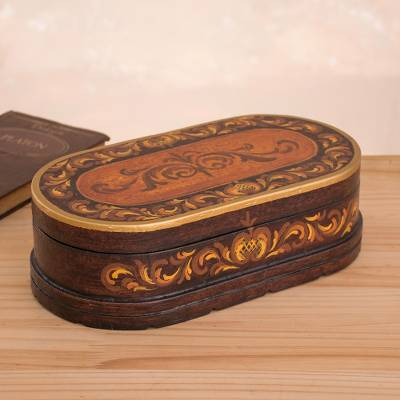 Cedar jewelry box, 'Reminisce' - Peruvian Hand Painted Wood Jewelry Box