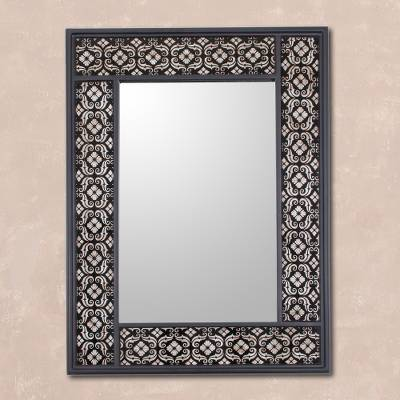 Mirror, 'Silver Blossoms' - Handcrafted Floral Wall Mirror