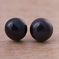 Pearl stud earrings, 'Light in Darkness'