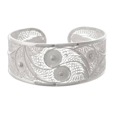 Filigree Cuff Bracelet with Fine and Sterling Silver