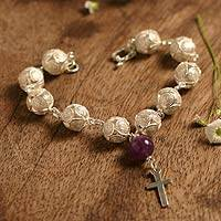 Amethyst filigree bracelet, 'My Prayer' - Sterling Silver and Amethyst Filigree Bracelet
