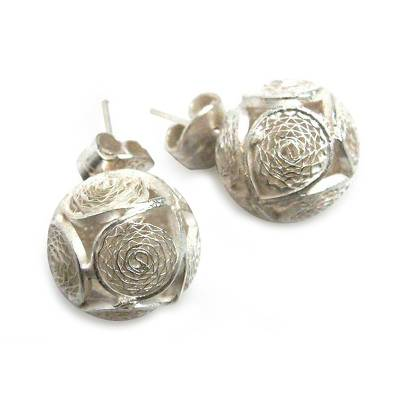 Handcrafted Sterling Silver Filigree Button Earrings
