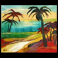 'Presence of Palms' - Landscape Expressionist Painting