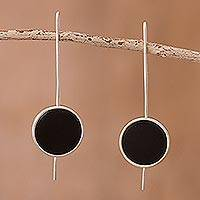 Obsidian drop earrings, 'U Turn' - Obsidian drop earrings