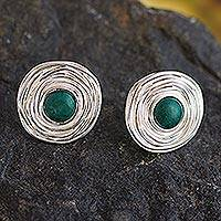 Chrysocolla flower earrings, 'Rosebud' - Handmade Silver and Chrysocolla Button Earrings