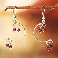 Garnet dangle earrings, 'Crescent Moons' - Fair Trade Peruvian Garnet and Silver Earrings