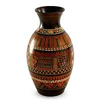 Ceramic vase, 'Sacred Inca Valley' - Handmade Cuzco Style Decorative Ceramic Vase