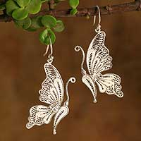 Silver filigree earrings, 'White Butterfly' - Unique Fine Silver Dangle Filigree Earrings
