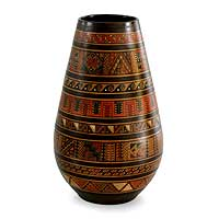 Aged Cuzco vase, 'Ancient Geometry' - Hand Crafted Peruvian Cuzco Ceramic Vase