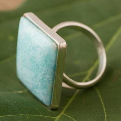 om ring silver plated - Modern Fine Silver Amazonite Cocktail Ring