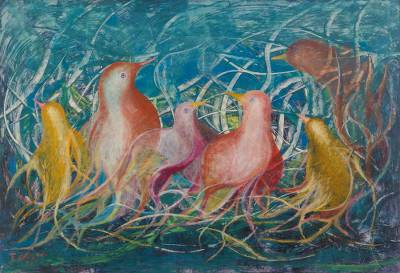 'Dove Dialogue' (2009) - Bird Painting from Peru