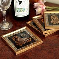 Painted glass coasters, 'Colonial Ebony' (set of 4) - Reverse Painted Glass Coaster Barware (Set of 4)