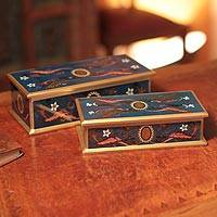 Painted glass jewelry boxes, 'Midnight Marvel' (pair) - Reverse Painted Glass Jewelry Box (Pair)