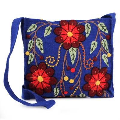 Artisan Crafted Floral Wool Embroidered Shoulder Bag