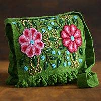 Wool flap shoulder bag, 'Aymara Flower' - Floral Wool Embroidered Shoulder Bag
