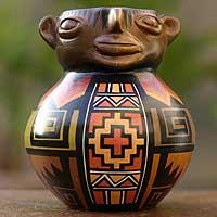 Aged Cuzco vessel, 'Pisac Effigy' - Aged Cuzco vessel