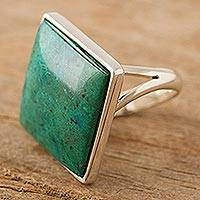 Chrysocolla cocktail ring, 'Diamond' - Women's Silver 950 and Chrysocolla Cocktail Ring