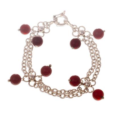 Sterling Silver Chain Carnelian Bracelet