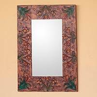 Leather mirror, 'Peruvian Autumn' - Leather mirror