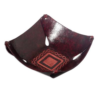 Peruvian Leather Catchall and Tray Centerpiece