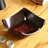 Leather catchall, 'Sunflower Magic' - Leather Catchall in Brown Leather with a Floral Motif