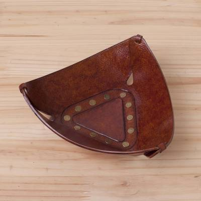 Leather catchall, 'Triangular Essence' - Spare Change Tooled Leather Triangle Catchall from Peru
