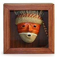 Papier mache shadow box mask, 'Chancay' - Artisan Crafted Cultural Framed Shadow Box Mask