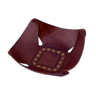 Brown Leather Catchall with Iron Studs Crafted in Peru