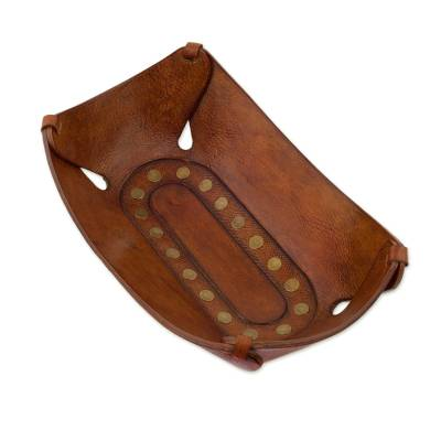 Andean Hand Tooled Brown Leather Decorative Catchall