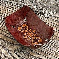 Leather catchall, 'Goth Bloom Tattoo' - Fair Traded Andean Handcrafted Floral Leather Catchall