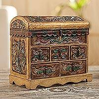 Leather jewelry box, 'Antique Tan' - Fair Trade Wooden Jewelry Box Trimmed with Leather