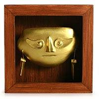 Papier mache shadow box mask,  'Lambayeque Mask'