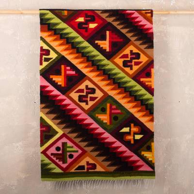 Wool tapestry, 'Andean Mosaic' - Unique Geometric Wool Tapestry