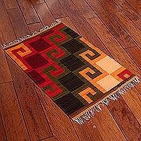 Wool rug, 'Fiery Hills' (2x2.5) - Collectible Hand Loomed Wool Area Rug (2x2.5)
