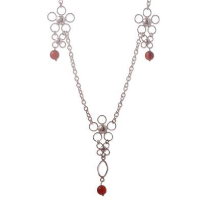 Peru Art Silver and Carnelian Necklace