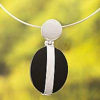 Obsidian pendant necklace, 'Sublime' - Modern Obsidian and Silver Necklace from Peru