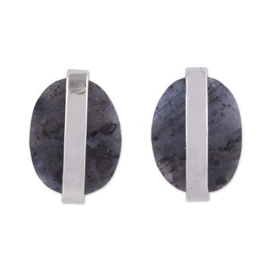 Marble button earrings