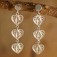 Silver filigree dangle earrings,